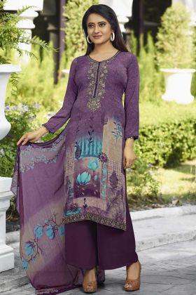 Purple Color Crepe Festive Salwar Suit