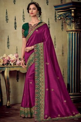 Purple Color Fancy Fabric Saree With Embroidery Work