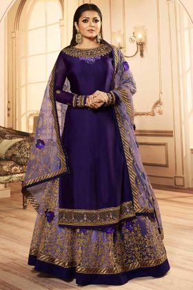 Purple Color Georgette Indo Western Dress With Embroidery Work