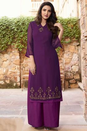Purple Color Georgette Pakistani Kurti With Stone Work