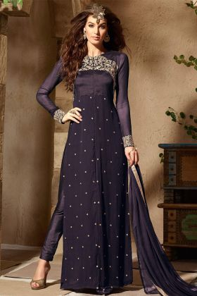 Purple Color Georgette Pant Style Salwar Suit With Embroidery Work