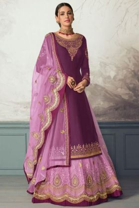 Purple Color Georgette Satin Indo Western Dress With Heavy Embroidery Work