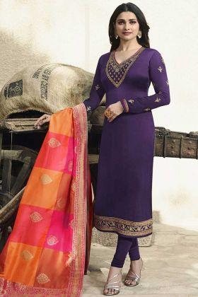 Purple Color Georgette Satin Salwar Suit With Banarasi Silk Dupatta