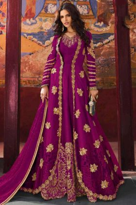 Purple Color Jacket Style Net Anarkali Dress With Embroidery Work