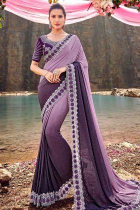 Purple Color Korean Designer Saree With Zari Work