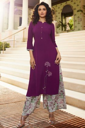 Purple Color Rayon Stylish Palazzo Kurti Set With Thread Embroidery Work