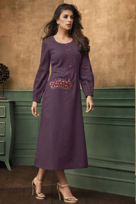 Purple Color Satin Cotton Kurti