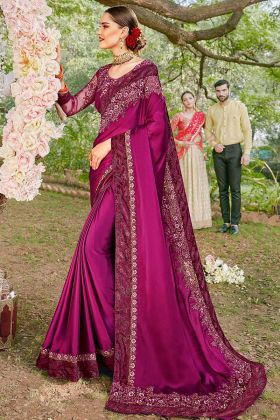 Purple Color Satin Georgette Designer Saree With Resham Embroidery Work