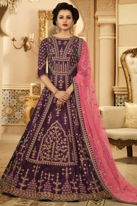 Purple Color Silk Wedding Anarkali Salwar Suit With Embroidery Work