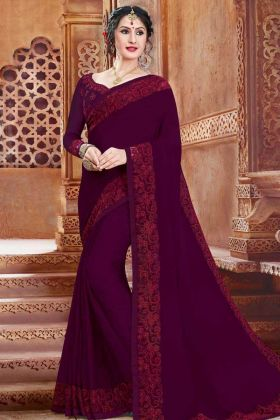 Purple Color Stone Work Georgette Party Wear Saree With Stone Work