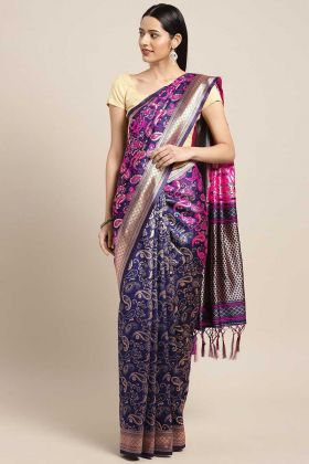Purple Color Weaving Banarasi Art Silk Wedding Saree With Weaving Work