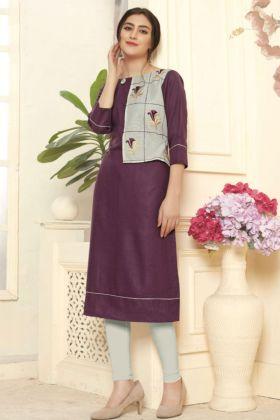 Purple Cotton Slub Designer Kurti