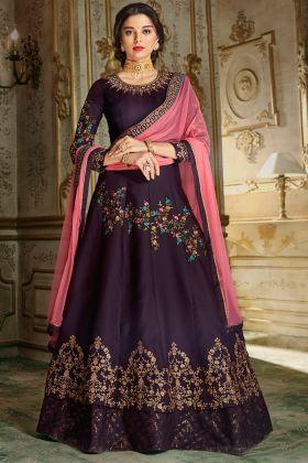 Purple Designer Embroiderd Anarkali Suit