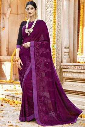 Purple Designer Silk Georgette Festival Saree