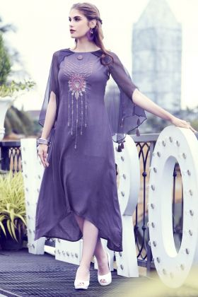 Purple Fliud Silk Designer Kurti