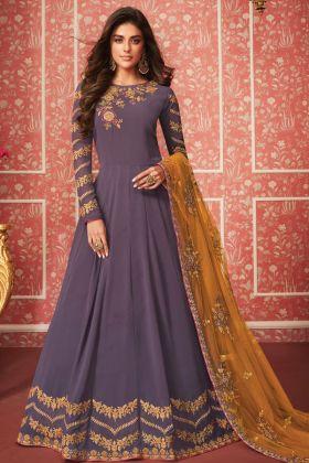 Purple Georgette Anarkali Salwar Kameez