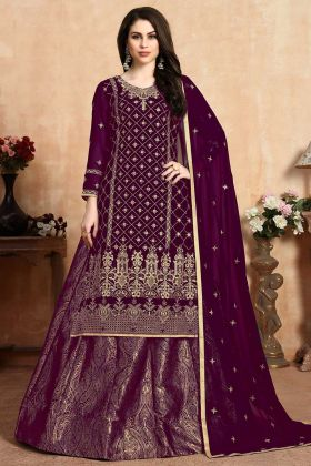Purple Georgette Designer Salwar Kameez With Jacquard Bottom
