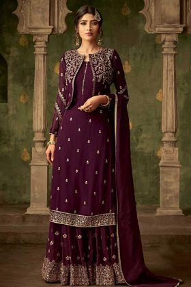 Purple Georgette Jacket Style Sharara Suit Online