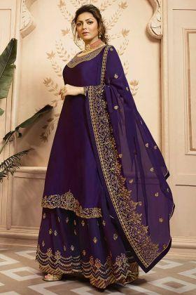 Purple Georgette Satin Palazzo Salwar Suit With Georgette Dupatta