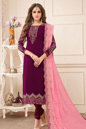 Purple Georgette Stone Work Wedding Salwar Suit