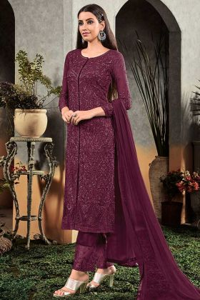 Purple Heavy Faux Georgette Palazzo Dress In Embroidered Work