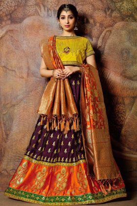 Purple Lehenga Jacquard Weaved Silk