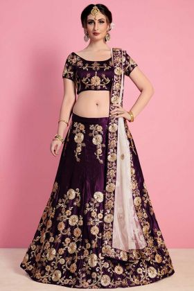 Purple Party Wear Designer Lehenga In Embroidery Border