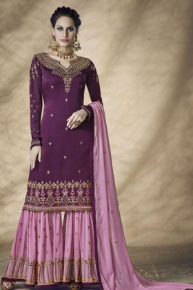 Purple Satin Georgette Sharara Salwar Suit
