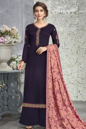 Purple Silk Georgette Palazzo Dress