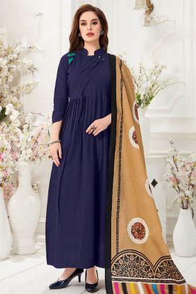 Purple Slub Cotton Wedding Gown Online