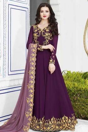 Purple Soft Georgette Anarkali Salwar Suit Online