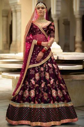 Purple Taffeta Silk Embroidered Semi Stitched Lehenga