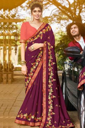 Radiant Purple Color New Saree Collection