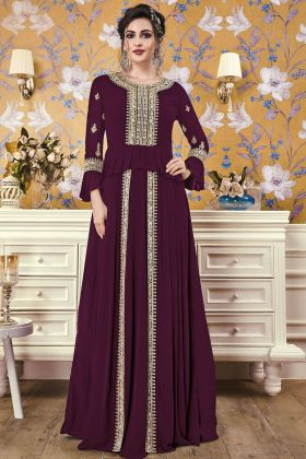Rakhi Special Designer Georgette Gown With Violet Color