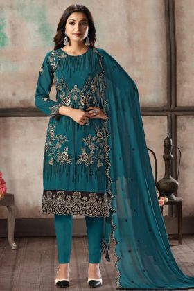 Rama Color Adorable Designer Faux Georgette Pant Style Salwar Suit