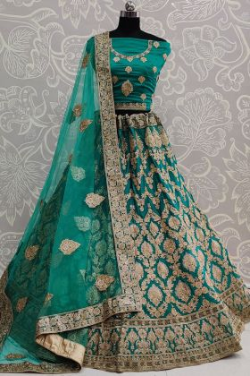 Rama Color Heavy Embroidered Satin Silk Lehenga Collection For Bridal