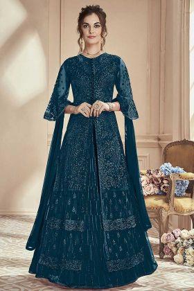Lehenga Style Salwar Suit In Rama Color Mono Net