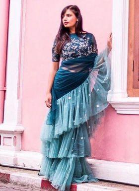 Rama Green Beautiful Ruffle Saree