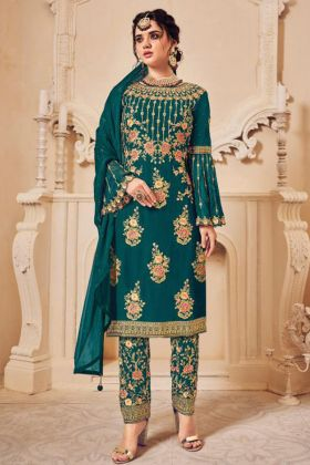 Rama Green Color Georgette Heavy Embroidered Salwar Suit For Wedding