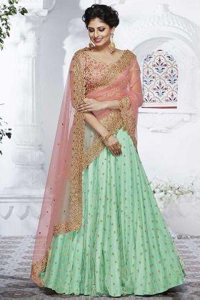 Rama Green Mono Net Designer Lehenga Choli