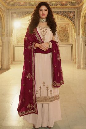Rangoli Georgette Party Wearing Fancy Stylist Palazzo Suit In Cream Color