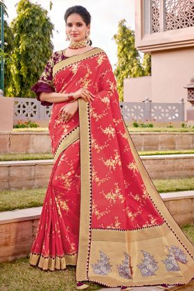 Rani Color Weaved Silk Traditional Saree With Cord Embroidery Work