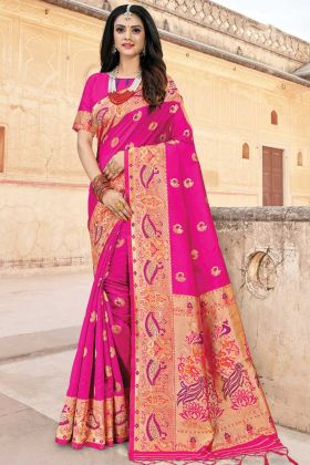 Rani Pink Art Silk Traditional Saree With Woven Border and Pallu