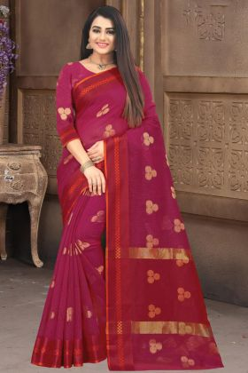 Rani Pink Color Doriya Cotton Silk Traditional Saree Online