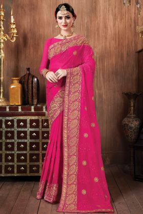 Rani Pink Color Georgette Saree For Special Pooja Function