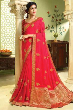 Rani Pink Color Party Wear Art Silk Saree