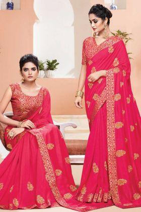 Rani Pink Color Party Wear Weaving Saree