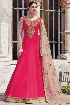Rani Pink Georgette New Salwar Suit Design