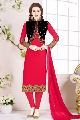 Rani Pink Georgette Salwar Suit With Balck Jacket