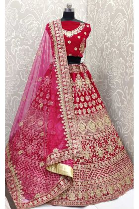 Rani Pink Indian Designer Ghagra Choli For Wedding